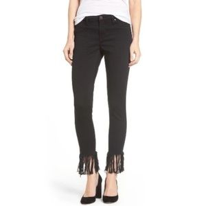 Blank NYC Black Frayed Fringe Hem Skinny Jeans